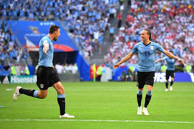 Soccer Football - World Cup - Group A - Uruguay vs Russia - Samara Arena, Samara, Russia - June 25, 2018 Uruguay's Diego Laxalt celebrates scoring their second goal REUTERS/Dylan Martinez