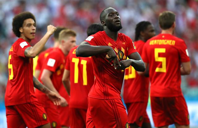 Romelu Lukaku and others during the 2018 FIFA World Cup Russia group G match between Belgium and Panama at Fisht Stadium on June 18, 2018 in Sochi, Russia.