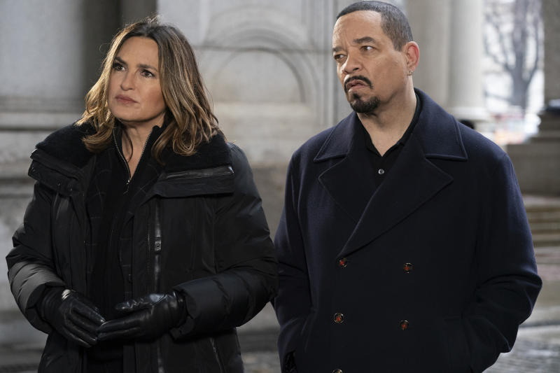 "Mariska Hargitay as Captain Olivia Benson and Ice T as Detective Odafin ""Fin"" Tutuola in season 21 of SVU."