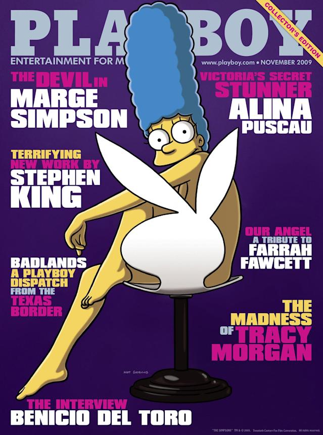 """<p>To celebrate the 20th anniversary of """"The Simpsons,"""" Hugh Hefner went where no other men's magazine had gone before. He ditched the usual scantily clad models for animated matriarch Marge Simpson, who posed """"naked"""" on a Playboy chair. (Photo: Playboy) </p>"""