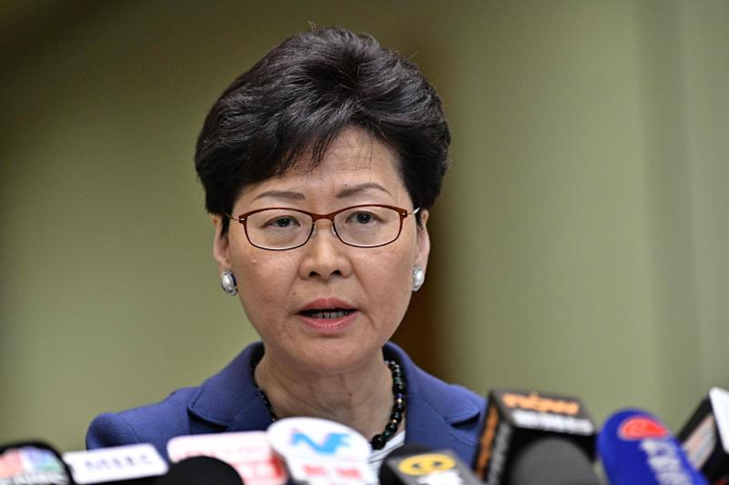 Chief Executive Carrie Lam is pictured holding a press conference in Hong Kong.
