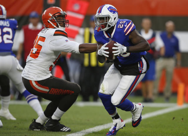 The mother of LeSean McCoy's 6-year-old son alleged in an affidavit that the Bills running back abused their son; McCoy denied the accusation. (AP)