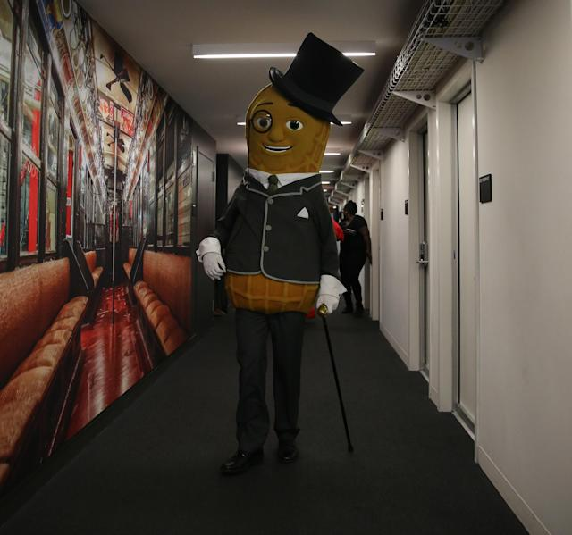 <p>The iconic Mr. Peanut poses for a photo at Yahoo offices in New York City on Sept. 25, 2017.(Photo: Gordon Donovan/Yahoo News) </p>