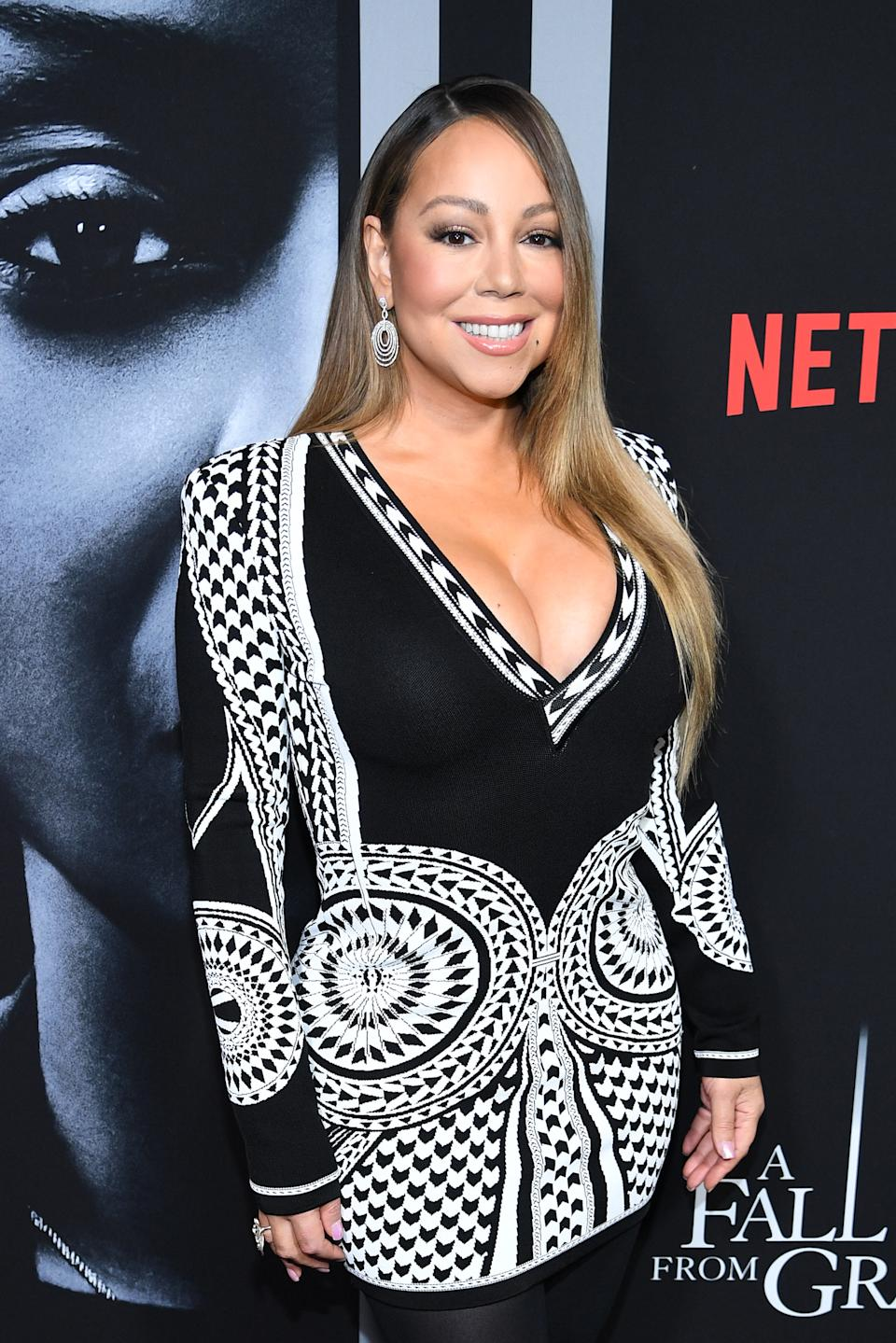 """Mariah Carey attends the premiere of Tyler Perry's """"A Fall From Grace"""" at Metrograph on January 13, 2020 in New York City. (Photo by Dimitrios Kambouris/WireImage)"""