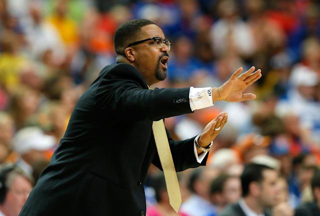 ATLANTA, GA - MARCH 14: Head coach Frank Haith of the Missouri Tigers reacts to a call during the quarterfinals of the SEC Men's Basketball Tournament against the Florida Gators at Georgia Dome on March 14, 2014 in Atlanta, Georgia. (Photo by Kevin C. Cox/Getty Images)