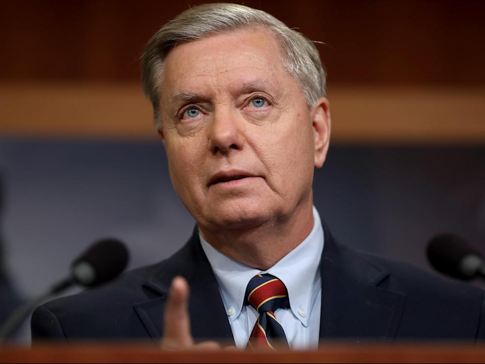 Senator Lindsey Graham speaks during a press conference at the US Capitol on 20 December 2018 in Washington (Getty Images)