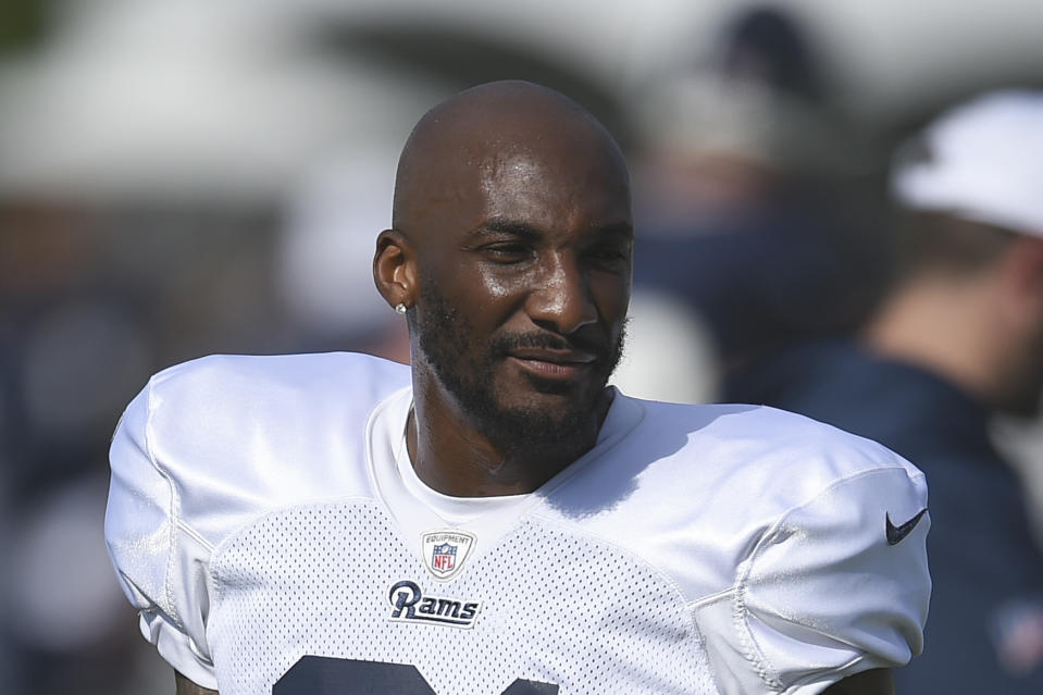A close-up of Aqib Talib in a Rams uniform.