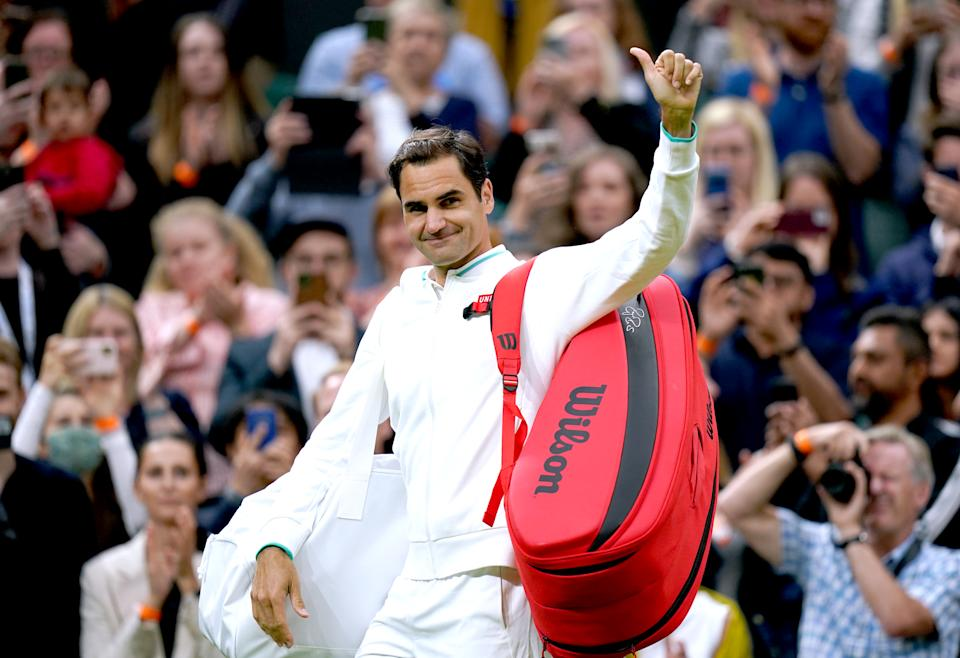 Roger Federer (pictured) waves to the fans after winning his first round match at Wimbledon.