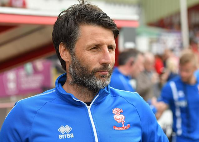 "Soccer Football - League Two Play Off Semi Final First Leg - Lincoln City v Exeter City - Sincil Bank, Lincoln, Britain - May 12, 2018 Lincoln City manager Danny Cowley Action Images/Paul Burrows EDITORIAL USE ONLY. No use with unauthorized audio, video, data, fixture lists, club/league logos or ""live"" services. Online in-match use limited to 75 images, no video emulation. No use in betting, games or single club/league/player publications. Please contact your account representative for further details."