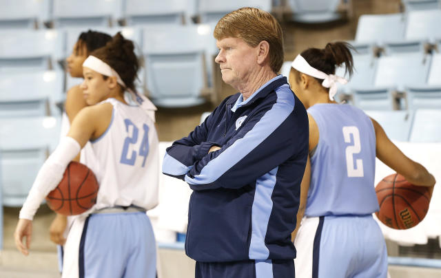 North Carolina Head Coach Andrew Calder watches his team during practice for the NCAA women's college basketball tournament in Chapel Hill, N.C., March 22, 2014. North Carolina plays UT-Martin in a first-round game on Sunday. (AP Photo/Ellen Ozier)