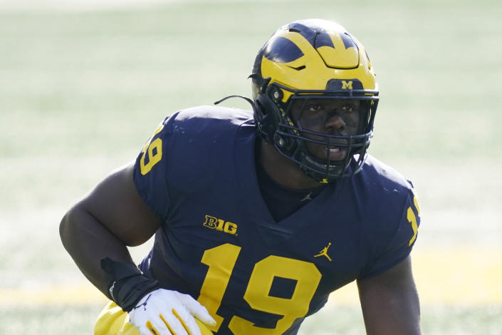 Michigan EDGE Kwity Paye is an athletically blessed, high-motor rusher. (AP Photo/Carlos Osorio)