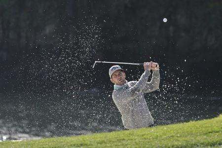 February 10, 2019; Pebble Beach, CA, USA; Matt Every hits out of the bunker on the eighth hole during the final round of the AT&T Pebble Beach Pro-Am golf tournament at Pebble Beach Golf Links. Mandatory Credit: Kyle Terada-USA TODAY Sports