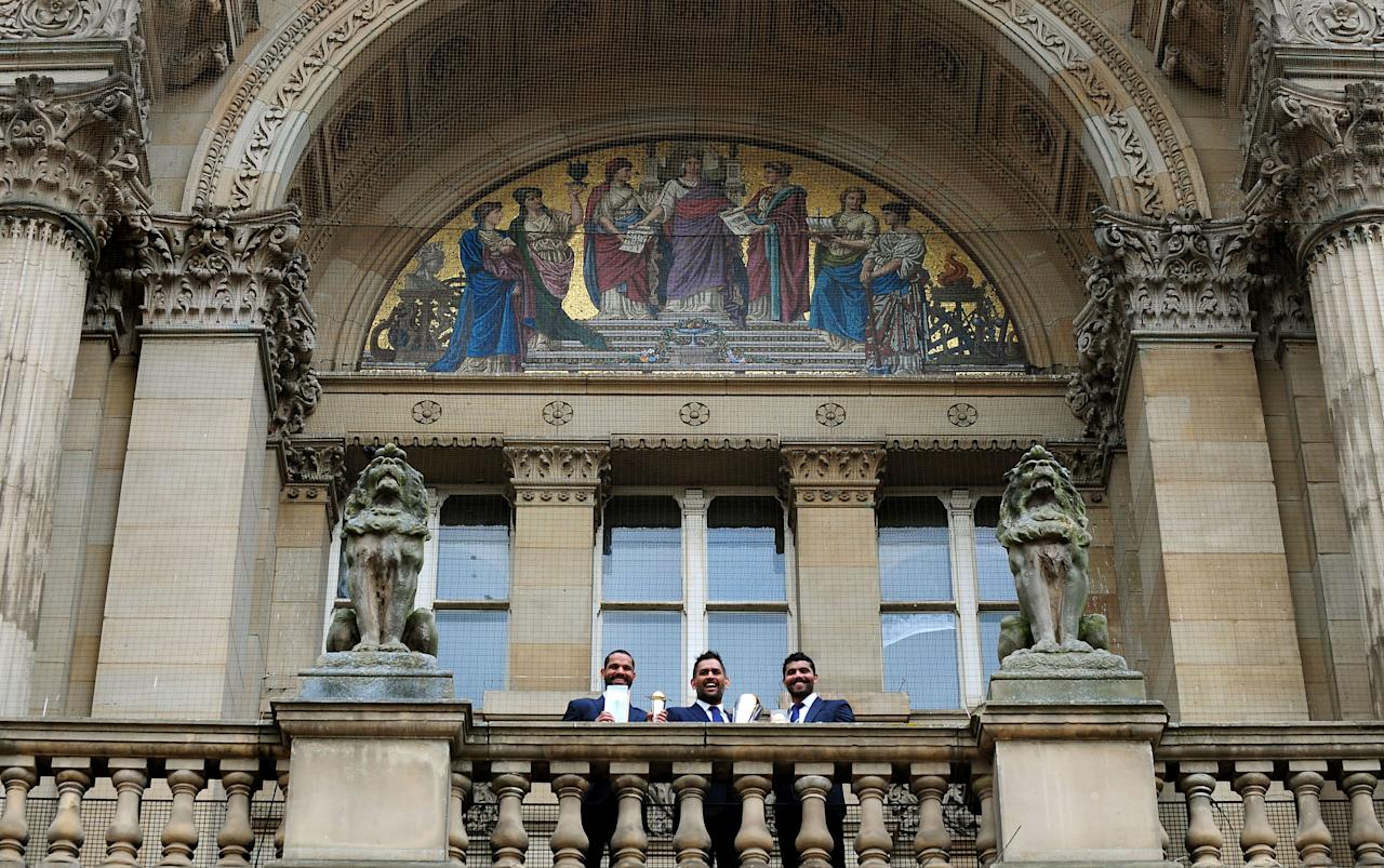 India's (left- right) Shikhar Dhawan, Mahendra Singh Dhoni and Ravindra Jadeja during the ICC Champions Trophy Winners Photocall at Birmingham City Council, Birmingham.