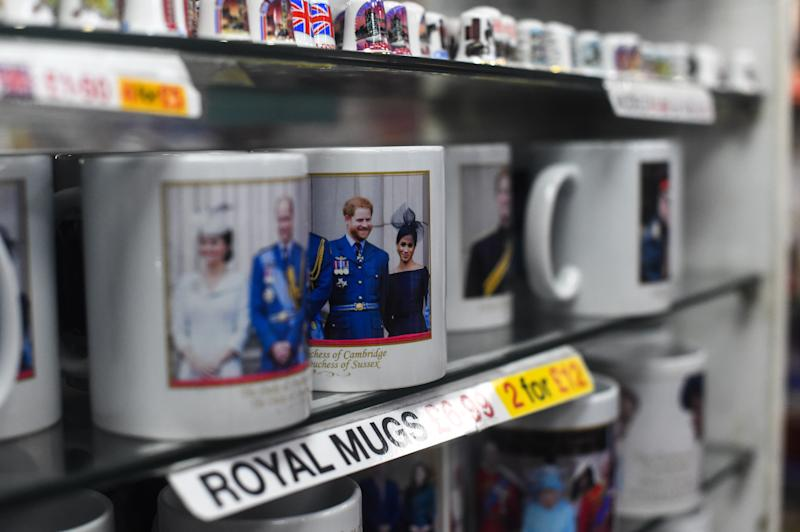 Merchandise featuring Prince Harry, Duke of Sussex and Meghan, Duchess of Sussex is seen on sale in London.