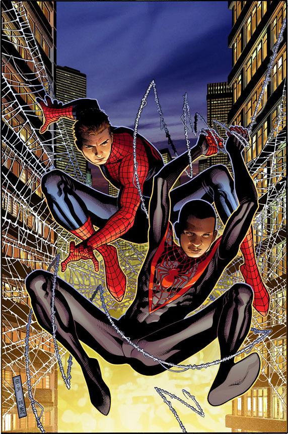 """This image provided by Marvel Comics shows Spider-Men Peter Parker, left, and his Ultimate Comics Universe counterpart Miles Morales.  Brian Bendis on Wednesday, April 11, 2012 said the two heroes will meet in the Bendis-written, Sara Pichelli-drawn five-issue miniseries """"Spider-Men,"""" the first time the two separate universes have crossed paths, as part of a celebration of Spider-Man's 50th anniversary. (AP Photo/Marvel Comics)"""