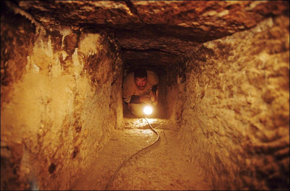 <p>The narrow access corridors that run throughout the Pyramids are barely wide enough for a person to crawl through. Would you enter a shaft? </p>