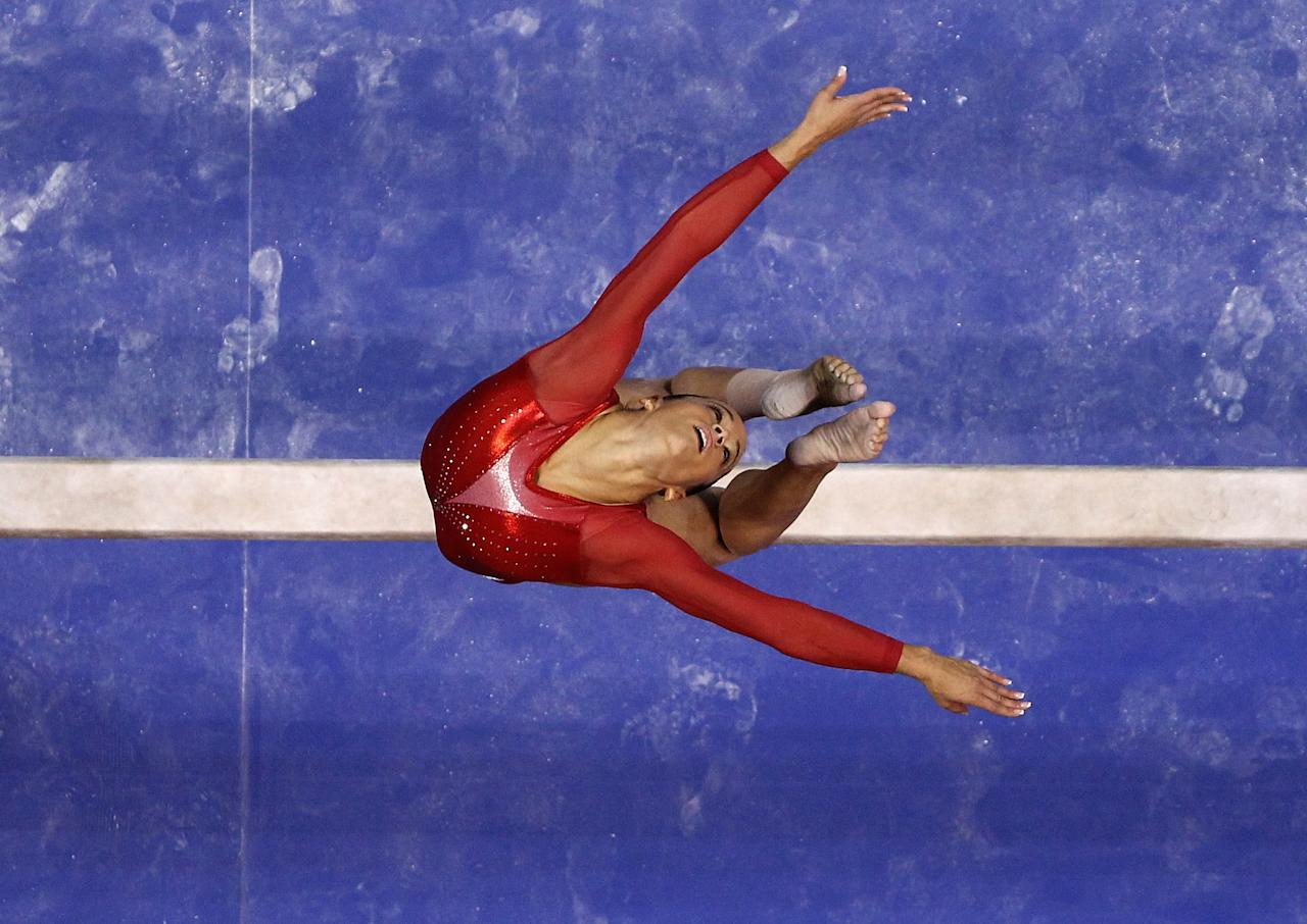 SAN JOSE, CA - JULY 01:  Alicia Sacramone competes on the beam during day 4 of the 2012 U.S. Olympic Gymnastics Team Trials at HP Pavilion on July 1, 2012 in San Jose, California.  (Photo by Ezra Shaw/Getty Images)