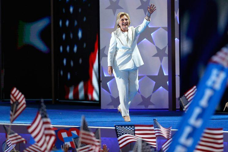 Pantsuits: Hillary Clinton takes the stage at the DNC.