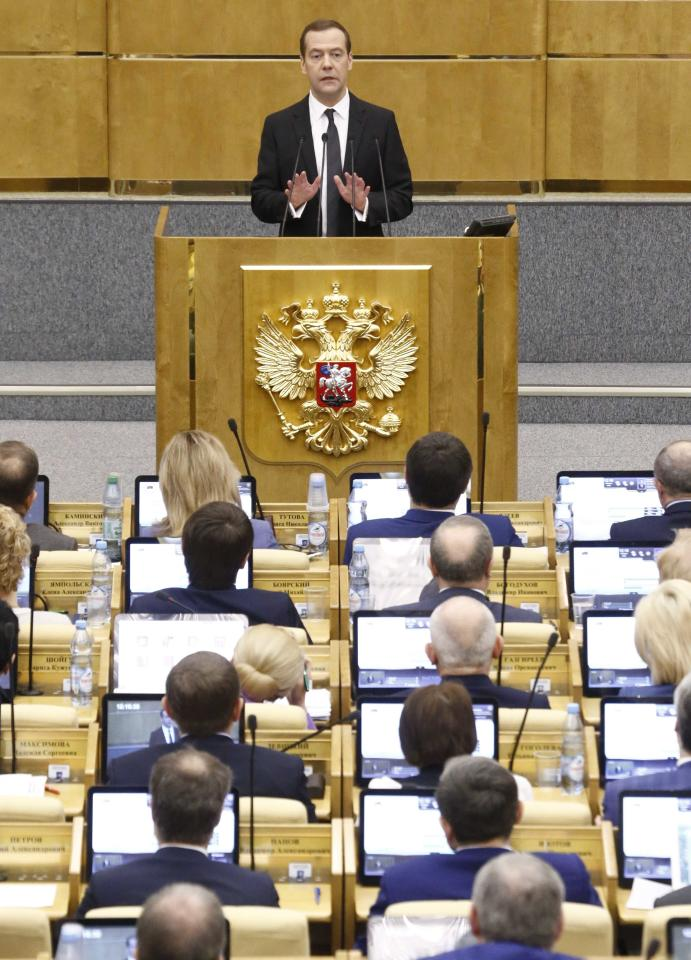 Russian Prime Minister Dmitry Medvedev delivers a speech during a session at the State Duma, the lower house of parliament, in Moscow, Russia, April 19, 2017. REUTERS/Sergei Karpukhin