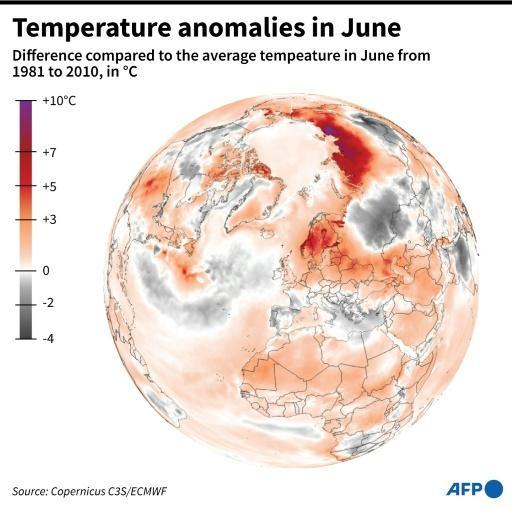 An Arctic hourly temperature record for June -- 37 degrees Celsius -- was set on the 21st near Verkhoyansk in northeastern Russia