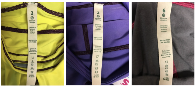 Lululemon alleges that counterfeit versions of its leggings, featuring replica tags that say the products were made in Vancouver, were being sold by Ross Stores. (Lululemon)