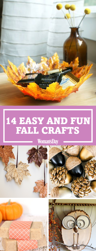 """<p>Save these easy and fun fall crafts for later by pinning this image and <a rel=""""nofollow"""" href=""""https://www.pinterest.com/womansday/"""">follow Woman's Day on Pinterest</a> for more. <span></span></p>"""