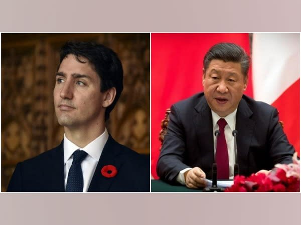 Canadian Prime Minister Justin Trudeau (L) and Chinese President Xi Jinping (R)
