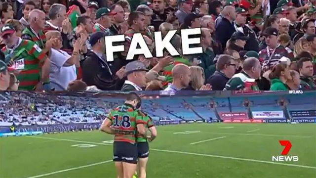 Old vision of crowds used during a Rabbitohs game. Pic: 7 News