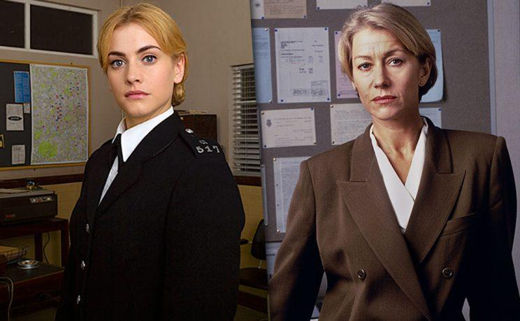 Stefanie Martini as Jane Tennison in PBS's Prime Suspect: Tennison and Helen Mirren as DCI Jane Tennison. (Photo Credit: ITV Studios/NoHo Film & Television)