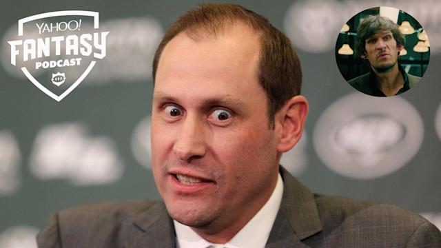 "Liz Loza and Matt Harmon discuss the chaotic behind-the-scenes shuffling within the New York Jets organization on the Yahoo Fantasy Football Podcast. Philadelphia 76ers C Boban Marjanović also joins to discuss his role in the film ""John Wick: Chapter 3 – Parabellum"" (Credits: AP Photo/Seth Wenig; Lionsgate)"