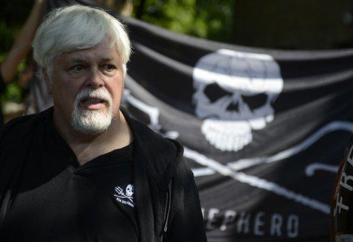 <p>Paul Watson, Canadian founder and president of the Sea Shepherd Conservation Society, attends a demonstration in Berlin in May 2012. Watson, who is wanted by Interpol, has confirmed he is back onboard a Sea Shepherd vessel and ready to confront Japanese whalers.</p>