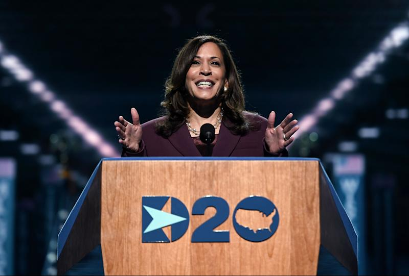 Senator from California and Democratic vice presidential nominee Kamala Harris speaks during the third day of the Democratic National Convention, being held virtually amid the novel coronavirus pandemic, at the Chase Center in Wilmington, Delaware on August 19, 2020. (Olivier Douliery/AFP via Getty Images)