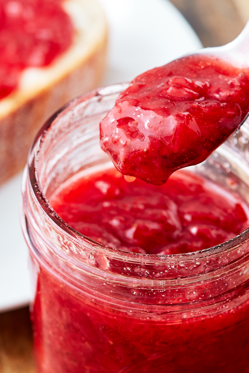 """<p>You deserve a good homemade jam, and this is the perfect one. It keeps for about 2 weeks in the fridge and goes great in yogurt or on muffins, too! </p><p>Get the <a href=""""https://www.delish.com/uk/cooking/recipes/a32485084/strawberry-jam-recipe/"""" rel=""""nofollow noopener"""" target=""""_blank"""" data-ylk=""""slk:Strawberry Jam"""" class=""""link rapid-noclick-resp"""">Strawberry Jam</a> recipe.</p>"""
