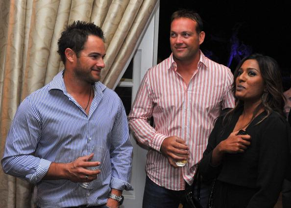 JOHANNESBURG, SOUTH AFRICA - DECEMBER 13:  Mark Boucher, Jacques Kallis and Cass Naidoo of CSA during the South African and Indian cricket team evening function at Summer Place on December 13, 2010 in Johannesburg, South Africa.  (Photo by Duif du Toit / Gallo Images/Getty Images)