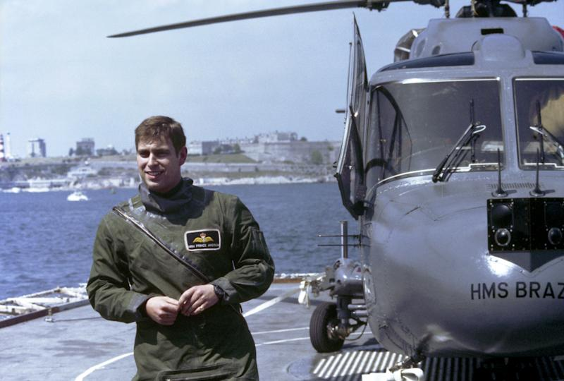 Prince Andrew serving aboard HMS Brazen as a flight pilot during the ship's deployment to the Mediterranean Sea as part of Standing NRF Maritime Group 2. (Photo by PA Images via Getty Images)