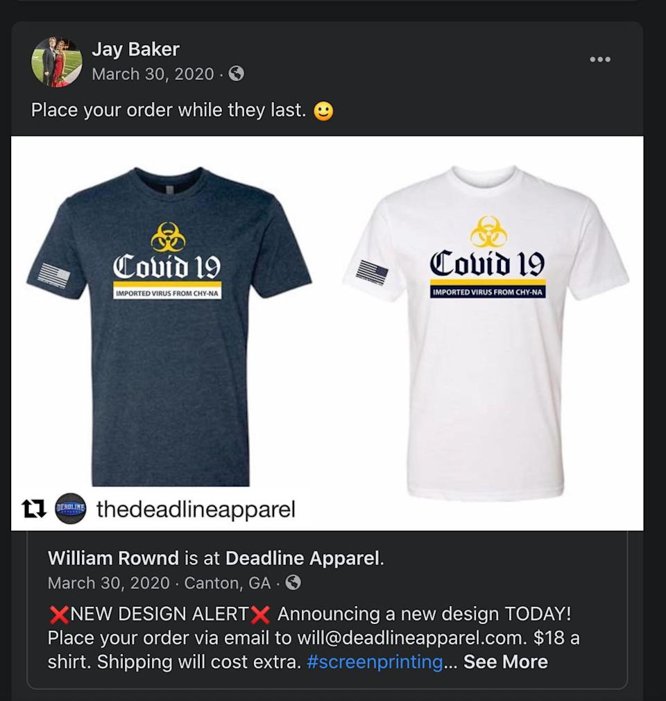 A screenshot of Cherokee County sheriff's Capt. Jay Baker promoting a T-shirt with a design insulting to the Asian community. (Photo: Sanjana Karanth/HuffPost)