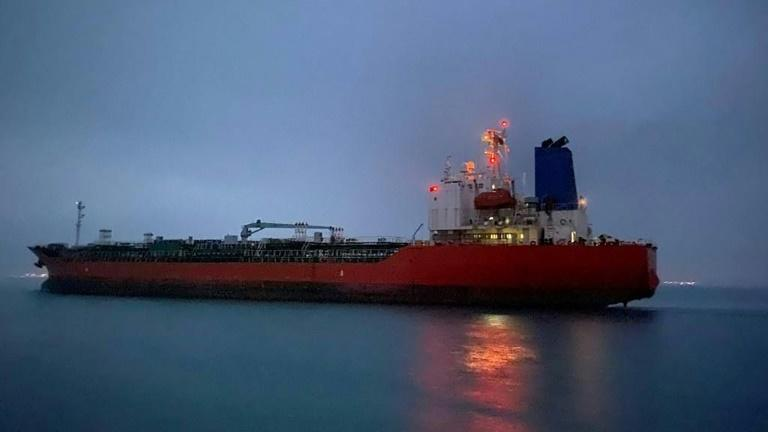 The South Korean-flagged tanker 'Hankuk Chemi' departs the Iranian port of Rajai near Bandar Abbas on April 9