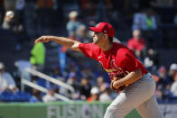 St. Louis Cardinals pitcher Adam Wainwright throws during the second inning of a spring training baseball game against the New York Mets Friday, Feb. 28, 2020, in Port St. Lucie, Fla. (AP Photo/Jeff Roberson)