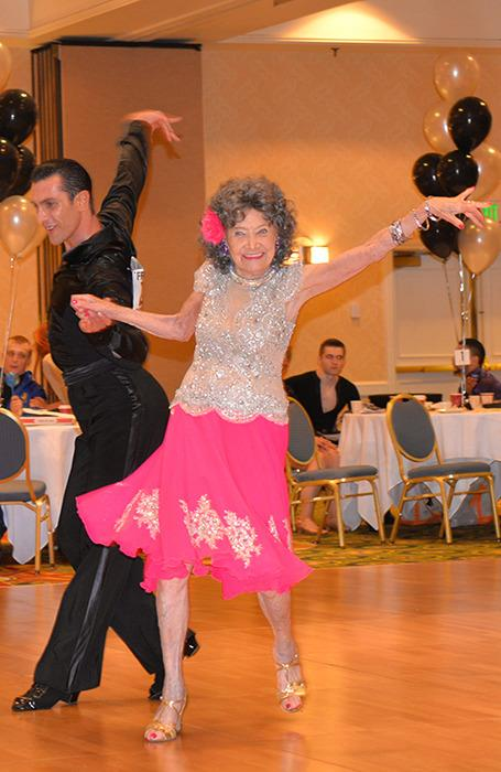 The yoga teacher impresses on the ballroom dance floor. (Photo: Teresa Kay-Aba Kennedy)