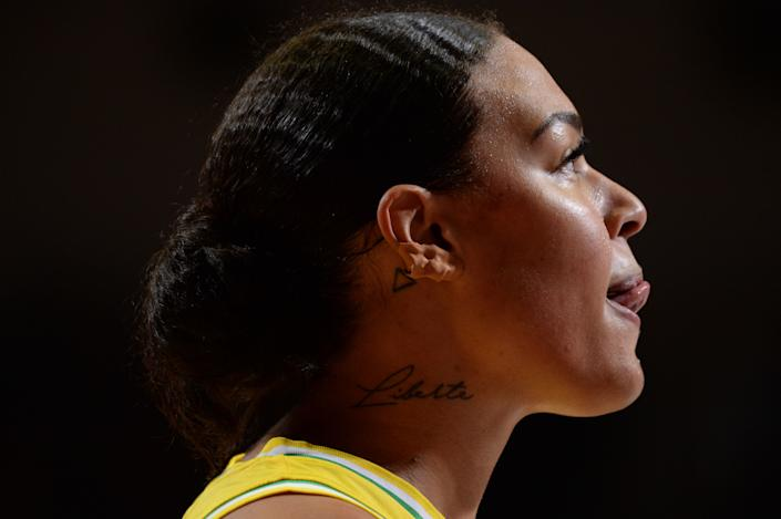 Australian's pivot Liz Cambage looks on during the FIBA Women's Olympic Qualifying Tournament match between Australia and Puerto Rico, on February 8, 2020, at the Prado stadium in Bourges, Center France. (Photo by GUILLAUME SOUVANT / AFP) (Photo by GUILLAUME SOUVANT/AFP via Getty Images)