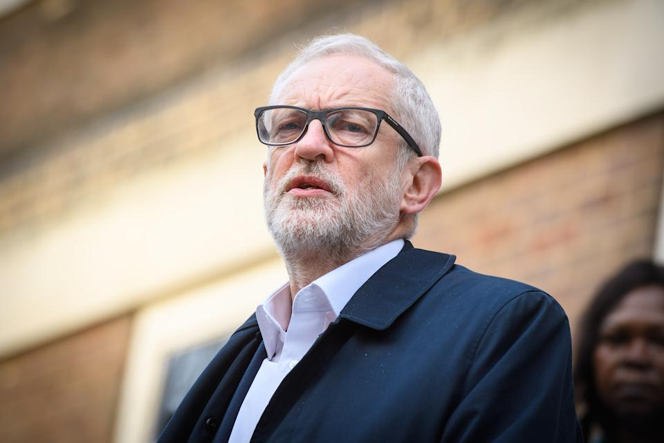 Labour leader Jeremy Corbyn speaking outside Birkbeck/SOAS University of London, at the announcement of Labour's plan for the extension of workers rights, whilst on the General Election campaign trail. Picture date: Tuesday December 3, 2019. Photo credit should read: Matt Crossick/Empics