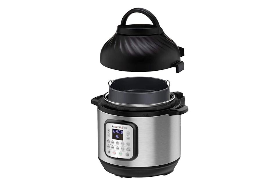Black and silver pressure cooker