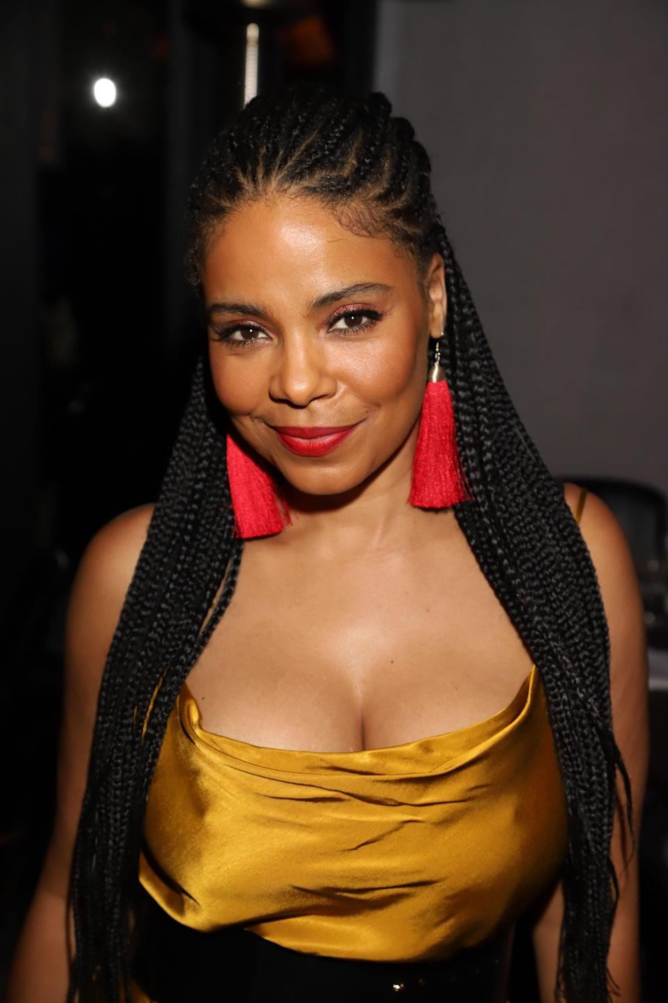 """This chic look toes the line just between a <a href=""""https://www.glamour.com/gallery/fulani-braids-hairstyle-ideas?mbid=synd_yahoo_rss"""" rel=""""nofollow noopener"""" target=""""_blank"""" data-ylk=""""slk:Fulani braid"""" class=""""link rapid-noclick-resp"""">Fulani braid</a> and goddess braid. It's a good in-between size if you're looking to test the waters into cornrows or micro braids."""