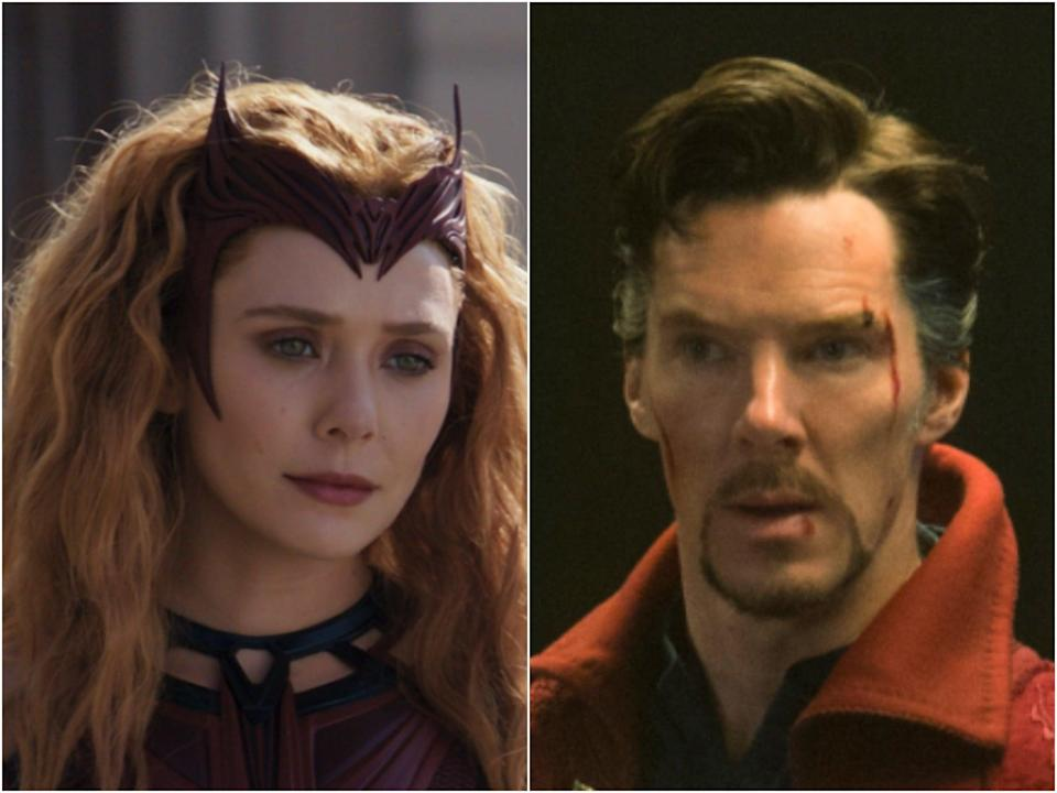 Elizabeth Olsen in WandaVision and Benedict Cumberbatch as Doctor Strange (Marvel Studios)