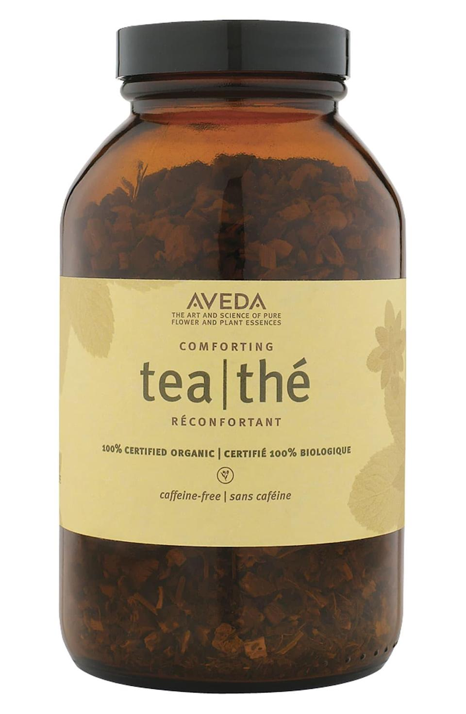 """<h3>Aveda Comforting Tea </h3><br><br>Of all the products on this list, I've been hooked on this one the longest. It's my tried and true go-to for a relaxing night in. Sipping on the herbal blend will help soothe you with its warmth and heavenly smell. It's caffeine and sugar free, and there are no added flavorings. That may sound boring and flavorless to you, but I assure you it's delightful despite these marks. Licorice root and peppermint make it naturally sweet. If I could<strong>, </strong>I'd abandon my life as a writer, and go live out the rest of my days as a small Thumbelina-like being in one of these teabags. It's <em>that</em> <a href=""""https://www.healthline.com/nutrition/peppermint-tea#section8"""" rel=""""nofollow noopener"""" target=""""_blank"""" data-ylk=""""slk:relaxing"""" class=""""link rapid-noclick-resp"""">relaxing</a>.<br><br><strong>Aveda</strong> Comforting Tea, $, available at <a href=""""https://go.skimresources.com/?id=30283X879131&url=https%3A%2F%2Fshop.nordstrom.com%2Fs%2Faveda-comforting-tea%2F3411456"""" rel=""""nofollow noopener"""" target=""""_blank"""" data-ylk=""""slk:Nordstrom"""" class=""""link rapid-noclick-resp"""">Nordstrom</a>"""