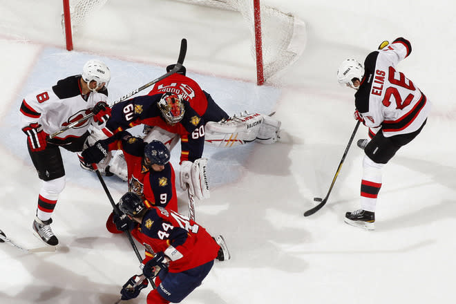 SUNRISE, FL - APRIL 21: Marco Sturm #16 of the Florida Panthers breaks awway from Ilya Kovalchuk #17 of the New Jersey Devils in Game Five of the Eastern Conference Quarterfinals during the 2012 NHL Stanley Cup Playoffs at the BankAtlantic Center on April 21, 2012  in Sunrise, Florida. The Panthers defeated the Devils 3-0. (Photo by Joel Auerbach/Getty Images)