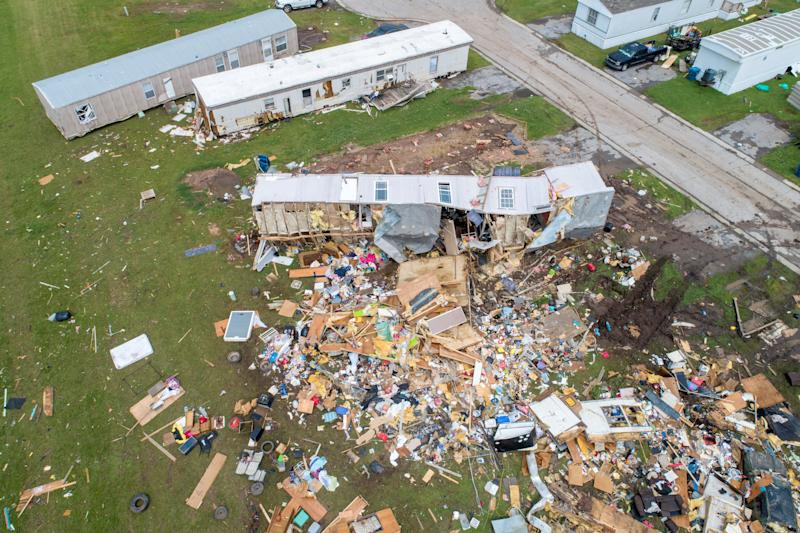 Debris covers part of a mobile home park in El Reno, Okla., on May 26. (Photo: Richard Rowe/Reuters)