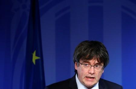 Former Catalan President Carles Puigdemont holds a news conference in Brussels