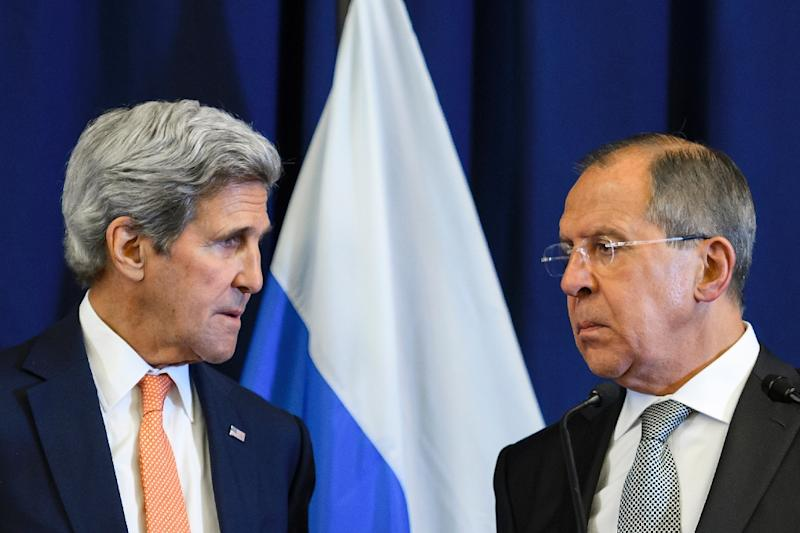 US Secretary of State John Kerry (L) demanded that Russia halt the Syrian regime's assault on Aleppo