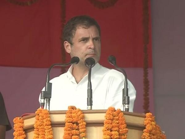 Congress leader Rahul Gandhi at a public rally in Katihar on Tuesday.